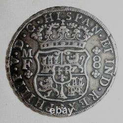 Beautiful 1745MF Philip V of Spain Silver Coin Mexico 8 Reales Mint Mark Mo VF+