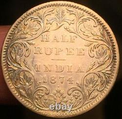 British INDIA ½ Half RUPEE 1874 Bombay Dot Mint Mark Nice Grade-Rare-See Pics