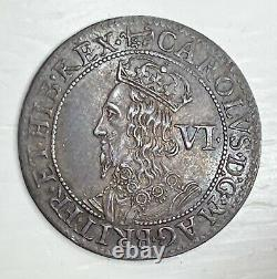 CENTREPIECE King Charles 1st Briot Milled 6 Pence Anchor Mintmark