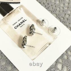Chanel Earring Women 05P Coco Mark Camelia Flower Silver Mini Mint Authentic