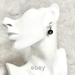Chanel Earring Women 99P Hoop Silver Coco Mark Black Logo Mint Condition Auth