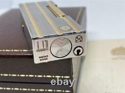 Dunhill Rollagas Lighter d Mark Stripe Gold Silver withBOX Near MINT Workinig