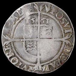 Elizabeth I, 1558-1603. Hammered Silver Sixpence, 1561. Mint Mark Pheon