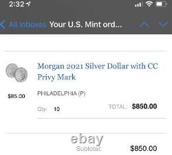 FIVE 5 LOT 2021 Morgan Silver Dollar CC Privy Mark COA SHIPS 10/21 100th Anniv