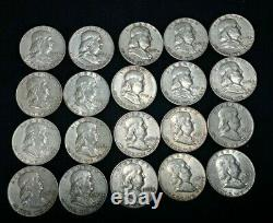 Franklin Half Dollar Lot of 20 Various Dates and Mint Marks! All 90% Silver