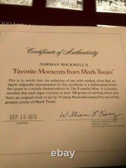 Franklin Mint Norman Rockwell's Favorite Moments of Mark Twain Silver Ingots