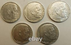 Germany Lot of 5 x 5 Marks 1936 1937 1938 A, D World War II Third Reich Silver