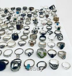 Huge Lot Of Vintage Marked And Unmarked 925 Sterling Silver Multi-Stones Rings