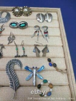 Huge Southwest & Native American Jewelry Lot 300g Marked Sterling Silver (SP)