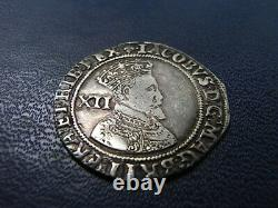James I Silver Shilling 1604-05 2nd coinage 3rd bust lis mintmark