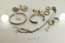 Jewelry Lot Sterling Silver All Marked 101.9 g Rings Bracelets Necklaces Etc