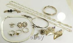 Jewelry Lot Sterling Silver All Marked 105.9 g Rings Bracelets Earrings ETC