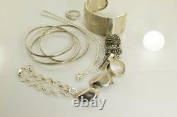 Jewelry Lot Sterling Silver All Marked 118.5 g Rings Bracelets Necklaces Etc