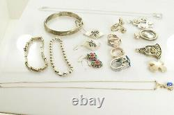 Jewelry Lot Sterling Silver All Marked 131.6 g Rings Bracelets Necklaces ETC