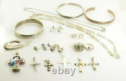 Jewelry Lot Sterling Silver All Marked 145.3 g Rings Bracelets Necklaces ETC