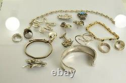 Jewelry Lot Sterling Silver All Marked 149.5 g Rings Bracelets Necklaces Etc