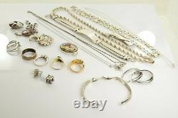 Jewelry Lot Sterling Silver All Marked 150.0 g Rings Bracelets Earrings ETC