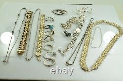 Jewelry Lot Sterling Silver All Marked 157.0 g Rings Bracelets Earrings ETC