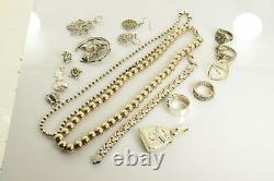 Jewelry Lot Sterling Silver All Marked 163.3 g Rings Bracelets Earrings ETC