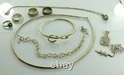 Jewelry Lot Sterling Silver All Marked 90.4 g Rings Bracelets Earrings ETC
