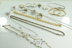 Jewelry Lot Sterling Silver All Marked 98.3 g Rings Bracelets Earrings ETC