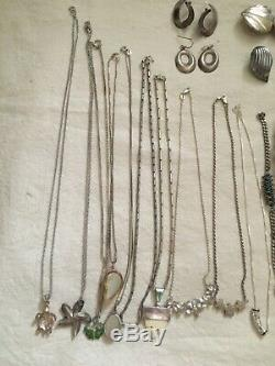 LOT of marked 925 Sterling Silver bracelet, chain, Rings and Earring