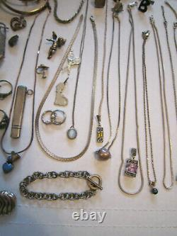 Large Lot of 410 Grams Sterling Silver Jewelry All Marked Scrap or Wear