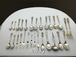 Large Lot of Fancy Sterling Silver Flatware Pieces Spoons Forks Ladle Marked