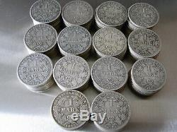 Lot Kaiserreich 1 Mark-Stücke von 1873 1887 140 Stück 755 g. 900er Silber