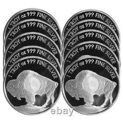 Lot of 10 1 Troy oz Sunshine Mint Buffalo. 999 Silver Round Mint Mark SI
