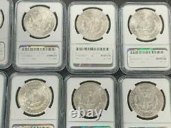 Lot of 10 Morgan Silver Dollars Different Date/Mint Mark NGC MS62 1879-1904 Q4OX