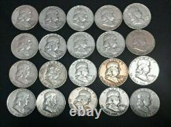 Lot of 20 Franklin Half Dollars Various Years and Mint Marks