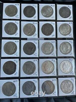 Lot of 20 Morgan & Peace dollars Mixed Dates & Mint Marks