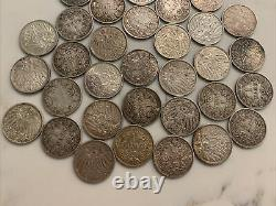 Lot of (35) rare german empire 1 mark silver coins
