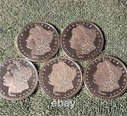 Lot of 5, 1 OZ Sunshine Mint Morgan Design Silver Round SMI Mint Marked
