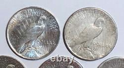 Lot of 5 Cull 1922-1935 US $1 Silver Peace Dollars, Mixed Dates & Mint Marks