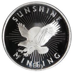 Lot of 500 1 Troy oz Sunshine Minting. 999 Fine Silver Round Mint Mark SI