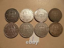 Lot of 8 Nazi Third Reich Germany Silver 5 Mark Coins Potsdam Church Lot 1