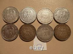 Lot of 8 Nazi Third Reich Germany Silver 5 Mark Coins Potsdam Church Lot 2