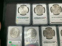 Lot of 9 Different Date/Mint Mark Morgan Silver Dollars 1881-1904 NGC MS63 Q4OL