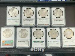 Lot of 9 Different Date/Mint Mark Morgan Silver Dollars 1881-1904 NGC MS63 Q4ON