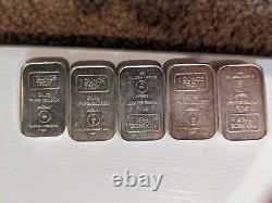 Lot of FIVE A-Mark 1 Oz. 999 Silver Stackable Bar USVI Ingot Co