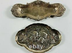 Lot (x2) Sterling Silver marked tray angels spoon rests setting silverware