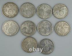Mixed Lot of 10 Nazi German 2 Mark Reichsmark Silver Coins with Swastika