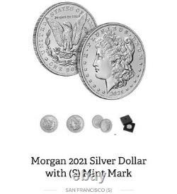 Morgan 2021 Silver Dollar with (S) Mint Mark PRE ORDER READ DESCRIPTION