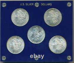 Morgan Silver Dollar Lot (5) Uncirculated-1 Of Each Mintmark-in Holder-free S/h
