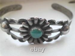 Old Harvey Navajo Cuff Repousee Floral Lot Of Stamping On Coin Silver Marked Ihm