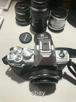 Olympus E-M10 Mark III 3 Silver Digital Camera. 6 lenses. Mint condition