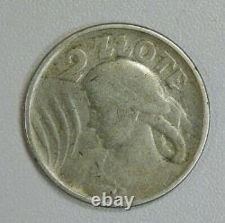 POLAND 2 ZLOTY 1924 Philadelphia no privy no mint mark RARE 800k mintage