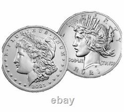 PRESALE 2021 Morgan And Peace Silver Dollar Coins (6) 3 Sets of P Mint Marks
